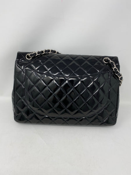 Chanel Maxi Double Flap Patent Black SHW