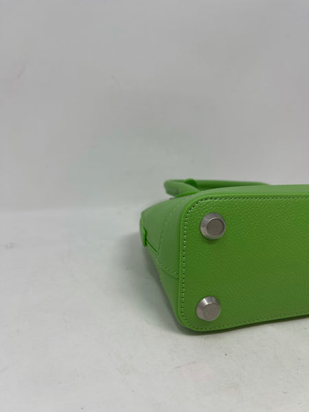 Balenciaga Grained Calfskin Ville Top Handle Bag XXS Green