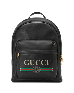 Gucci Print Leather Backpack handbag
