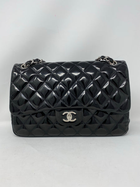 Chanel Black Patent Quilted Jumbo Double Flap