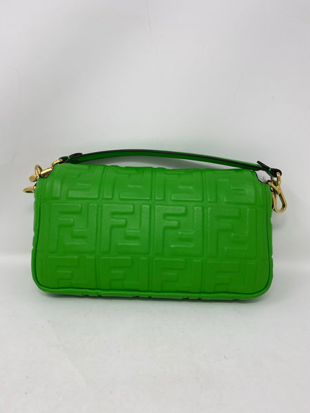 Fendi Baguette NM Green Nappa Leather Handbag