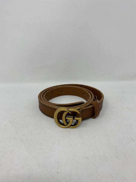 Gucci Thin Leather Belt with Double G Logo 80cm/32in