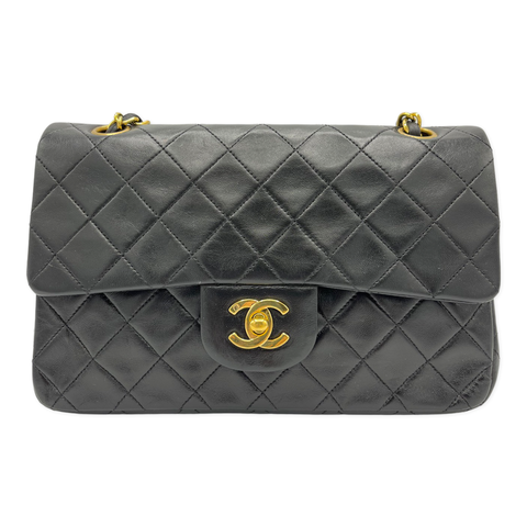 Chanel Vintage Classic Small Double Flap Black Lambskin