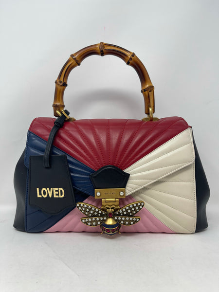 Gucci Bamboo Top Handle Queen Margaret Bag Light Pink White Hibiscus Red Blue