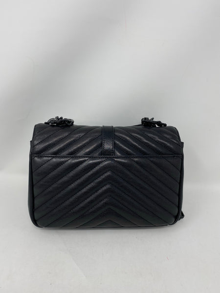 Saint Laurent Sheepskin Matelasse Chevron Monogram Medium College Bag Black