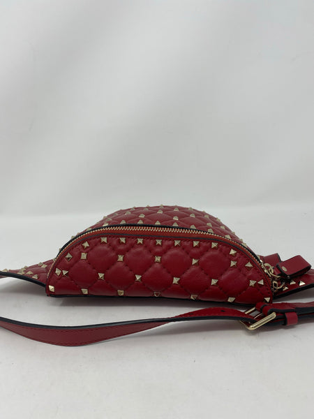 Valentino red Lambskin Free Rockstud Spike Belt Bag