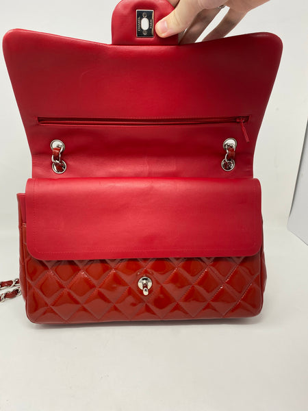Chanel Red Patent Quilted Jumbo Double Flap