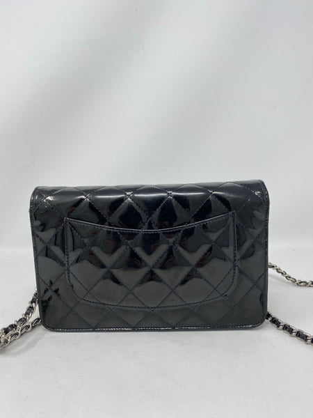 Chanel Quilted Patent Leather WOC Black