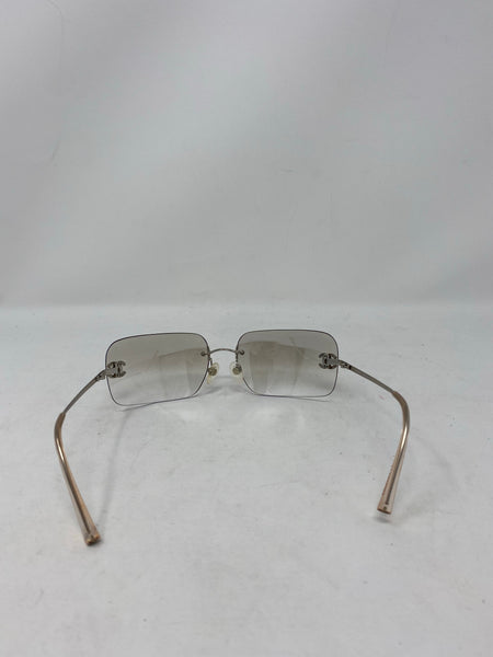 Chanel Vintage Rimless sunglasses clear/grey with crystal detail