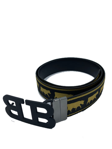 Bally B Logo Belt animal print fixed/reversible in black and gold