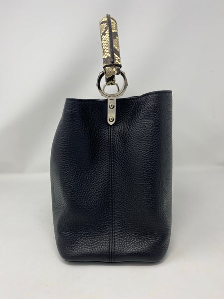 Louis Vuitton Capucines MM black python handle handbag