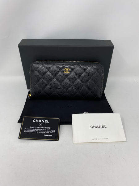 Chanel black caviar quilted large gusset zip around wallet