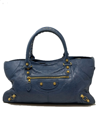 Giant Balenciaga City Handbag in Blue with Gold Hardware
