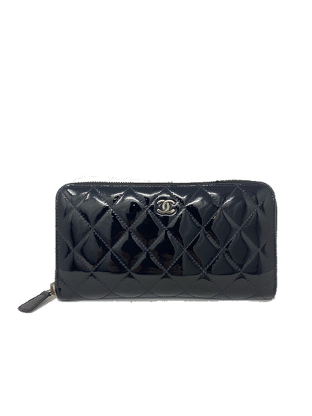 Chanel Classic Long Wallet Patent Black