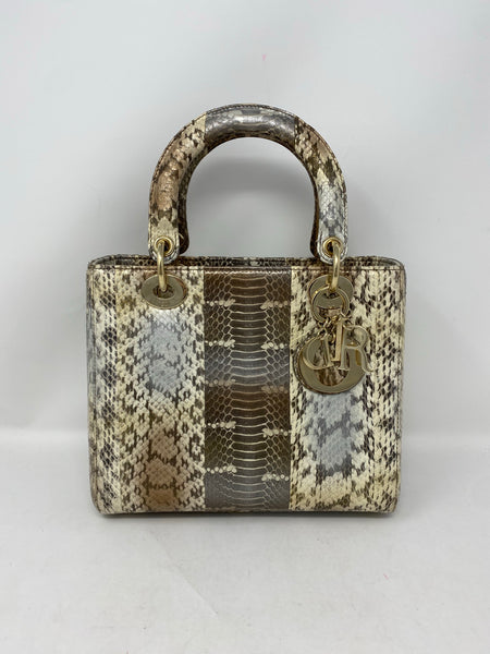 Dior Medium Lady Dior Python natural/gold