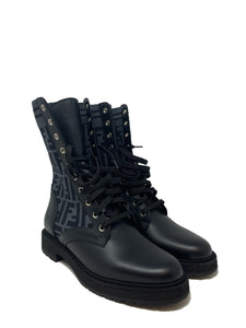 Fendi Combat leather and FF boots size 38