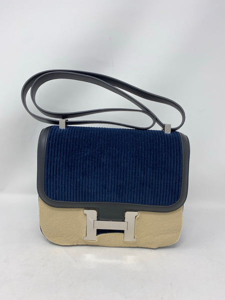 Hermes Constance 24 deep blue velours cotele /noir swift PHW
