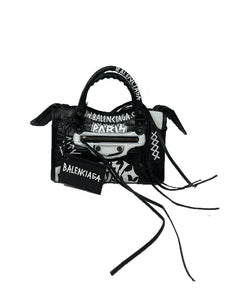 Balenciaga Mini City Bag Embossed Calfskin Graffiti Black