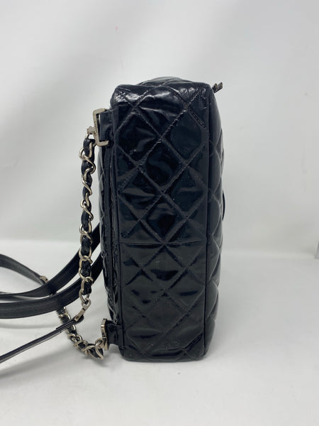 Chanel Vintage Patent Quilted Backpack Black