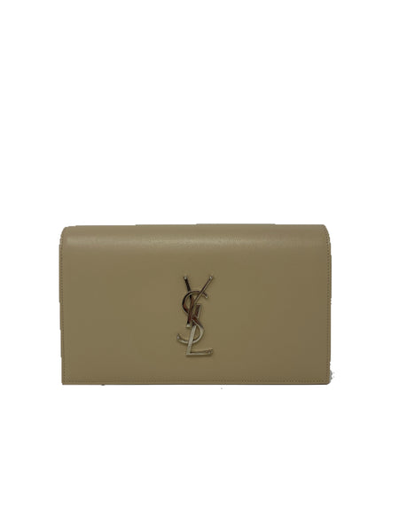 Saint Laurent Grain de poudre classic Kate clutch monogram nude powder