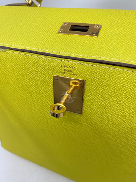 Hermes Kelly 28 Sellier Epsom Lime GHW