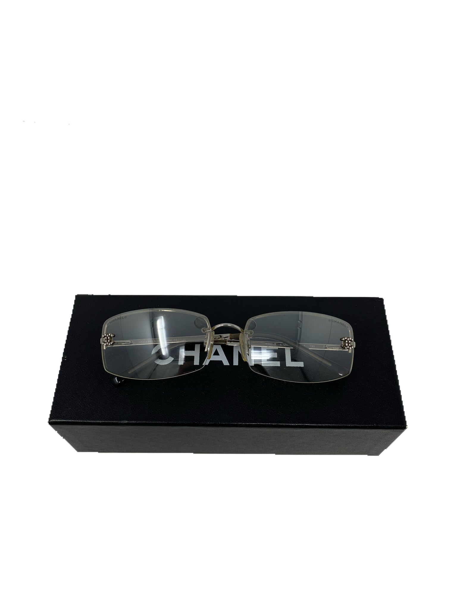 Chanel Vintage Rimless Sunglasses with CC rhinestone detail