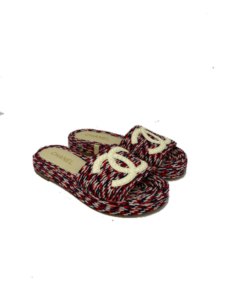 Chanel Rope Slides with CC logo red white blue size 36