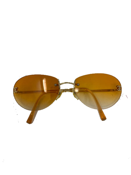 Chanel Vintage Rimless Sunglasses with CC yellow/orange