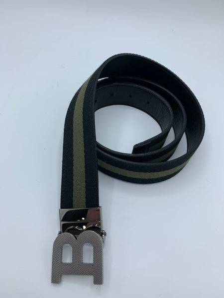 Bally B Logo Belt black and green synthetic fabric