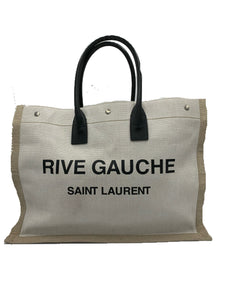 Saint Laurent Linen Calfskin Rive Gauche Tote Optic White