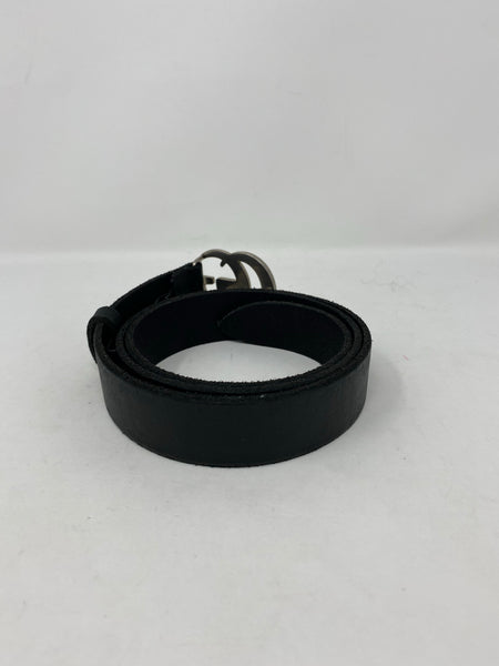 Gucci Leather Belt with Double G Logo Silver 80cm/32in