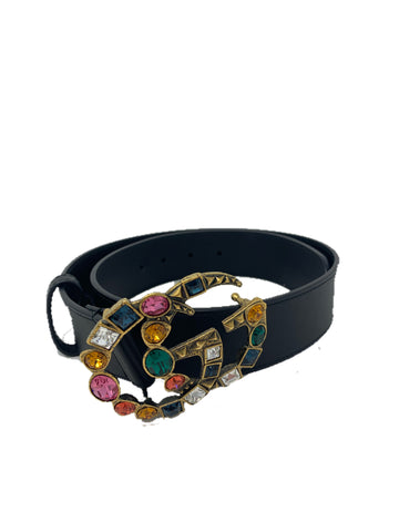 Gucci Leather Belt Multicolor Stones 80cm/32in