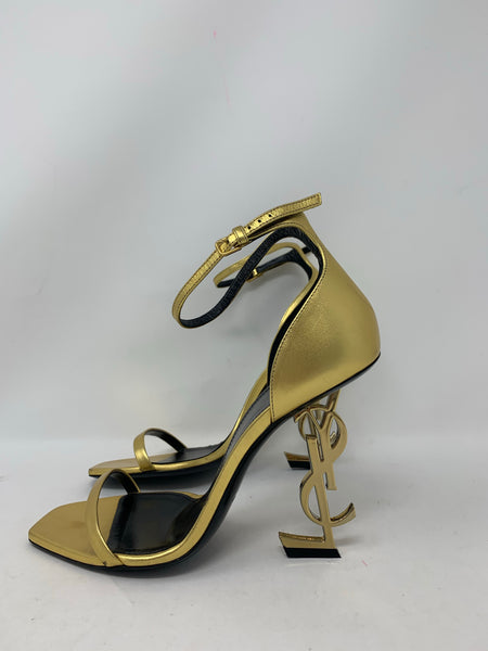 Saint Laurent Opyum Ankle Stral Heels in gold 38.5
