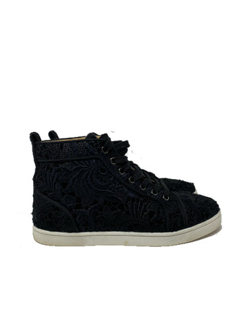 Christian louboutin lace black high top sneaker size 37.5