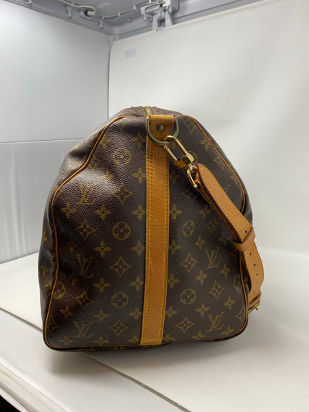 Louis Vuitton Monogram Canvas Keepall 55 Bandouliere Luggage Handbag