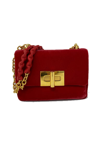 Tom Ford Natalia Red Velvet Flap Bag
