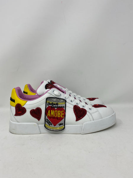Dolce & Gabbana amore soup embroidered sneakers size 38EU
