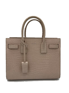Saint Laurent Calfskin Crocodile Embossed Baby Sac De Jour Soft Nude
