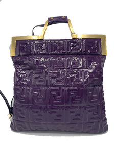 Fendi Patent FF 1974 Embossed Small Flap Shopping Tote