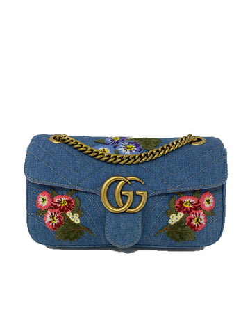 Gucci Denim Embroidered Small Marmount Handbag