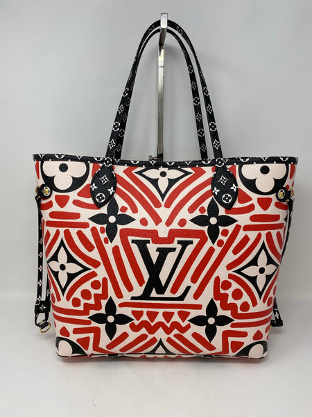 Louis Vuitton Crafty Neverfull MM With Pouch Cream Red Handbag
