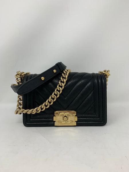 Chanel Small Boy Bag Black Chevron Caviar Leather