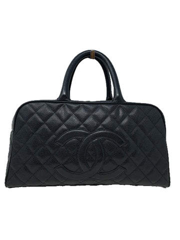 Chanel Vintage Caviar Leather Boston Bag Black