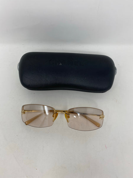 Chanel Vintage Rimless Sunglasses pink/gold with crystal details