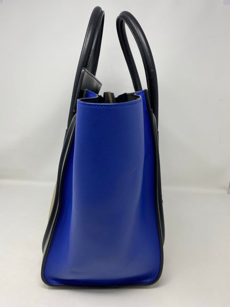 Celine Mini Luggage Tri-Color handbag black/beige/blue