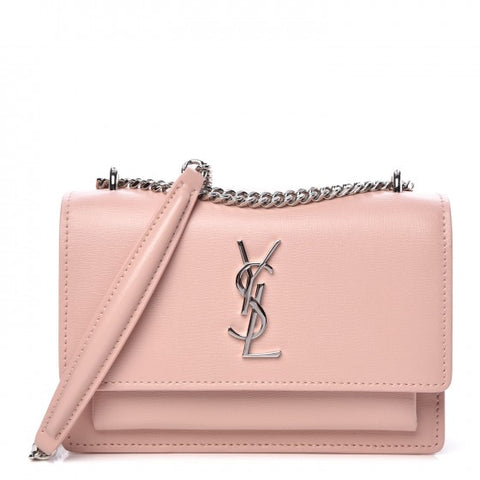 SAINT LAURENT Calfskin Monogram Sunset Chain Wallet Light Pink