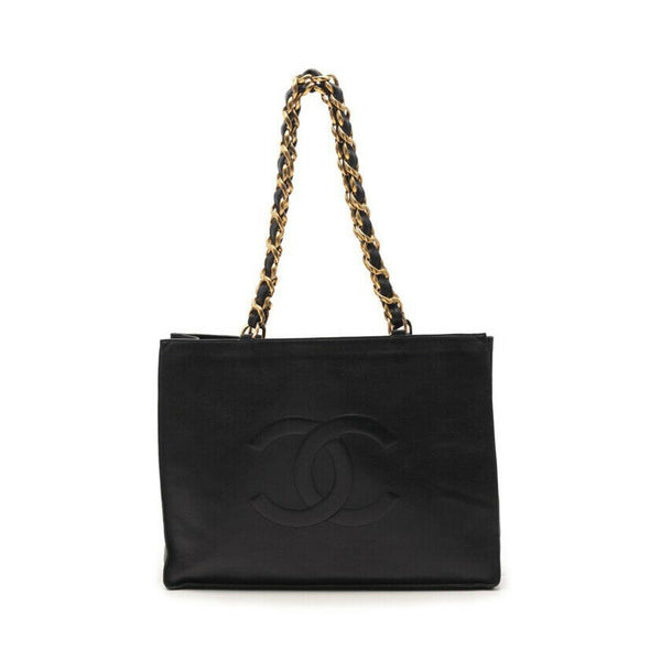 Chanel Timeless Logo Black Lambskin Tote Bag with Gold Hardware