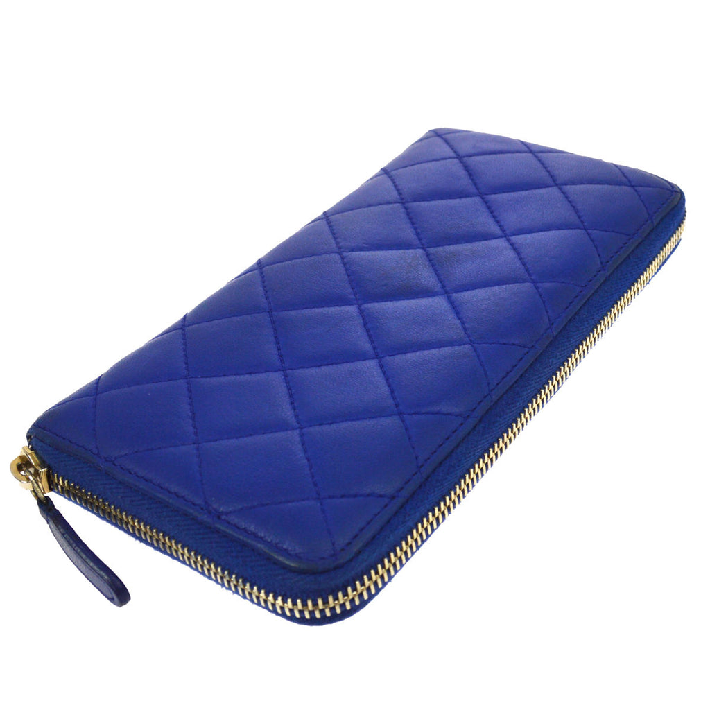 9b441a35a058 Chanel Blue Quilted Lambskin CC Zip Around Long Wallet – Sacdelux