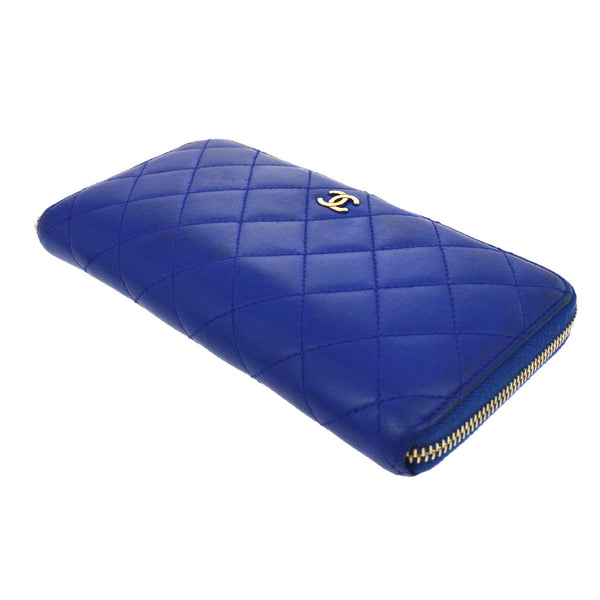 Chanel Blue Quilted Lambskin CC Zip Around Long Wallet