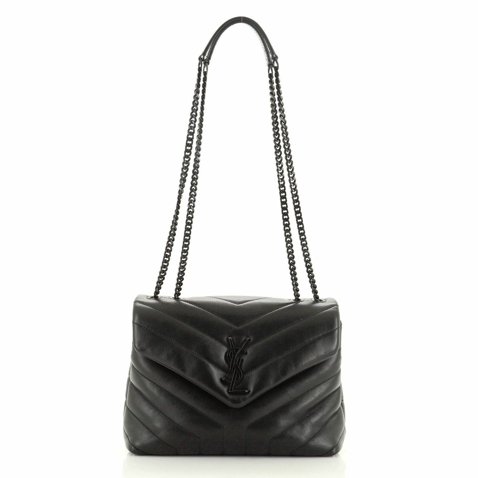 Saint Laurent Small LouLou Matelasse black with black hardware shoulder bag